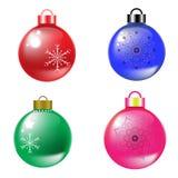 4 objecten Kerstmisballen en madala isoleerden Helder en glanzen stock illustratie