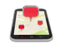 Objecten plaats en mobiele navigatie Stock Afbeelding