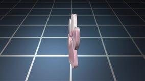 Objectez la rotation au-dessus des grilles, graphiques de mouvement illustration stock