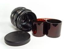 Objectieve lens met filmstrook Stock Afbeeldingen