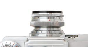 Objectieve lens van uitstekende geïsoleerde filmcamera Stock Foto