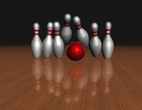Objectif, atteignant le but, concept de but avec le bowling Photo stock