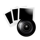 Objectif de caméra avec des photos d'isolement illustration stock