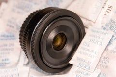 Objectif de caméra sur des silicagels Photo stock