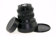 Objective for 60mm film camera. On white background stock images