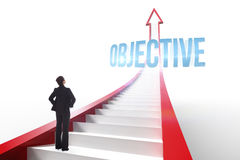 Objective against red arrow with steps graphic Royalty Free Stock Photo