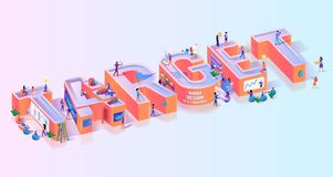 Objective Business Target Effort Typography Banner. Leadership Strategy for Competition Focus. Amateur Skill Failure to Hit Goal Concept Motivation Isometric stock illustration