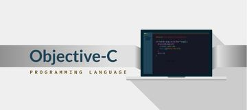 Objective-C programming language with script code on laptop screen, programming language code illustration vector illustration
