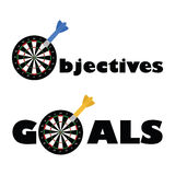 Objective and goals. Concept illustration showing a dartboard and a dart as part of the words objectives and goals Royalty Free Stock Image