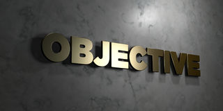 Objective - Gold sign mounted on glossy marble wall  - 3D rendered royalty free stock illustration Stock Photos