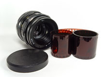 Objective lens with film strip Stock Images