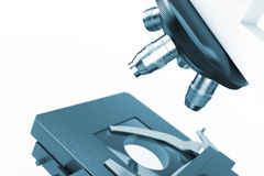 Objective Lens of Modern Laboratory Microscope extreme closeup. Royalty Free Stock Images