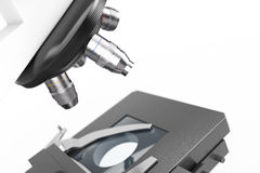 Objective Lens of Modern Laboratory Microscope extreme closeup. Stock Photo