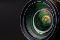 Objective slr lens. Objective with lense reflections. Shot in studio stock photos