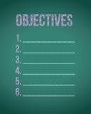 Objectives chalk board illustration Royalty Free Stock Image