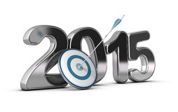 2015 Objectives Concept. 3D metallic Year 2015 with a target at the foreground with an arrow hitting the center, concept image for achieving business objectives Stock Photography