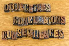 Objectives conclusions consequences letters. Message objectives conclusions consequences decisions results letterpress wood block letter words background sign royalty free stock images