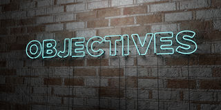 OBJECTIVES - Glowing Neon Sign on stonework wall - 3D rendered royalty free stock illustration. Can be used for online banner ads and direct mailers Royalty Free Stock Photography