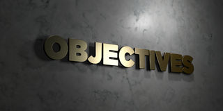Objectives - Gold text on black background - 3D rendered royalty free stock picture. This image can be used for an online website banner ad or a print postcard Stock Images
