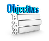 Objectives list 3d word concept. Over white Stock Photo