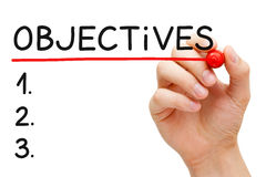 Objectives List. Hand writing Objectives to do list with marker isolated on white Royalty Free Stock Image