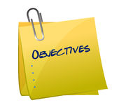 Objectives memo post illustration Stock Photography