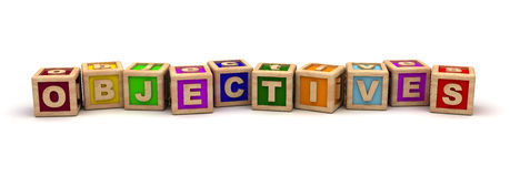 Objectives Play Cubes. (Computer Generated Image Stock Photo