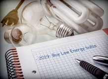 Objectives to save in the next year, reduce energy consumption, buy bulbs of low consumption. Conceptual image stock image