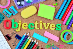 Objectives word on cork background Royalty Free Stock Photo