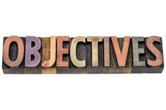 Objectives word in wood type. Objectives - isolated word in vintage letterpress wood type printing blocks royalty free stock images