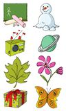 Objects 01. Mixed cartoon style object pack Royalty Free Stock Photography