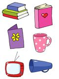 Objects 02. Mixed cartoon style object pack with book, mug, television, books Royalty Free Stock Image