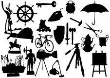 Objects. Silhouette objects on a white background stock illustration