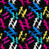Objects abstract graffiti on a black background seamless pattern. (vector eps 10 vector illustration