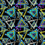 Objects abstract graffiti on a black background seamless pattern Stock Photo