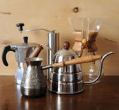Objects for alternative coffee brewing on a wooden background Stock Images