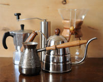 Objects for alternative coffee brewing on a wooden background Royalty Free Stock Photos