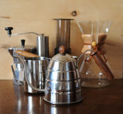 Objects for alternative coffee brewing on a wooden background Stock Image