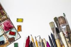 Objects for arts, sculpture, painting, drawing stock photo