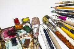 Objects for arts, sculpture, painting, drawing stock image