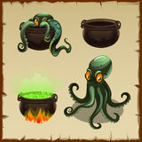 Objects of the boiler and octopus separately and Stock Images