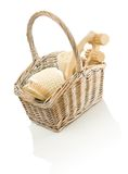 Objects for care in basket Royalty Free Stock Photography
