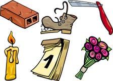 Objects cartoon clip arts illustration set Royalty Free Stock Photo