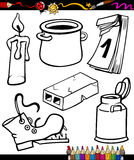 Objects cartoon set for coloring book Royalty Free Stock Photography