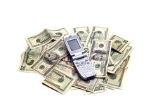 Objects - Cellphone on Money Stock Photo