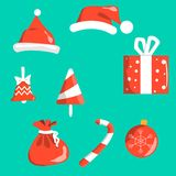 Objects christmas symbols red with white isolated on background. Santa s cap, bell, Christmas-tree decoration ball, gift stock illustration