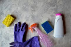 The objects for clean up home. Tools for homework. The objects for clean up home. Tools for homework on the floor Royalty Free Stock Images