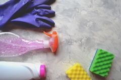 The objects for clean up home. Tools for homework. The objects for clean up home. Tools for homework on the floor Stock Image