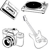 Objects collection. Vector collection of different object (music and photography Stock Photo