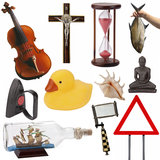 Objects for cutout - Isolated. A selection of objects, items, ideas, and concepts for cutout (isolated on a white background stock photography